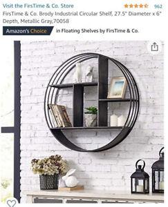 FirsTime & Co. Brody Industrial Circular Shelf Metallic Gray