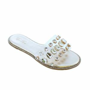 NEW Liliana Honnay-2 Gold Clear Vamp Rhinestone Accent Flat Slides