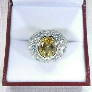 6.88ct Natural Citrine,Blue Topaz,Purple Amethyst,CZ Sterling Silver Ring- 8 7/8