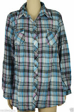 Check Button Down Collar Tops & Shirts Plus Size for Women