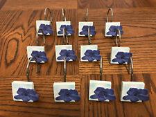 Vintage Shower Curtain Hooks Rings, Metal Decorative Resin Purple Flowers