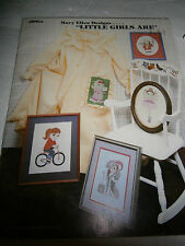 1982 Little Girls Are Cross Stitch Pattern Book Ballerina Tea Party Bicycle NEW