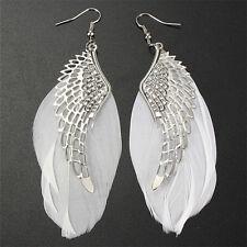 Angel-Wing White Feather Dangle Earring Charm Jewelrys Long Earrings for Wo 0d