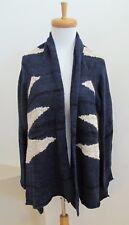 New Ralph Lauren Cardigan Sweater 2X LRL Open Front Dark Blue Cream Linen Cotton