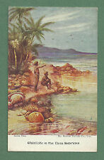 C1910'S PC CHILD LIFE IN THE NEW HEBRIDES - ARTIST DRAWN, ALL BRITISH PICTURE CO