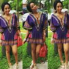 Sexy Women Short Sleeve African Print Bubble Skirt Casual V-Neck Print Dress