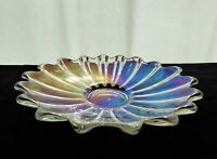 """Federal Glass Iridescent Clear Celestial 9 1/2"""" Shallow Bowl"""