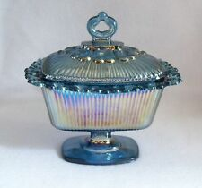 Vintage Indiana Glass Lace Edge Iridescent Blue Carnival Glass Covered Dish