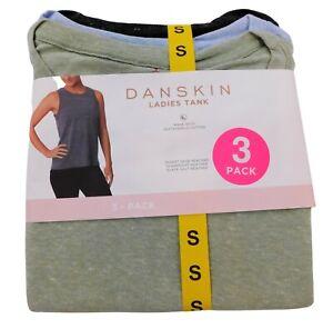 Danskin Women's Small Shirts 3-Pack Hi-Low Tank Sleeveless Green, Black, & Blue
