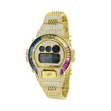 Rainbow Multi  Gold Tone Baguette Simulated Diamond Casio G-Shock DW 6900 Watch