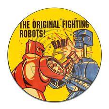 Rock Em Sock Em Robots Game Design Reproduction Circle Aluminum Sign
