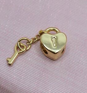 Gold Heart Lock & Key Charm for European Style Charm Bracelets and Necklaces