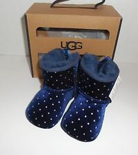 New UGG Infant Size 2/3 JESSE BOW STARLIGHT Velvet Boots Navy Blue 6-12 Months