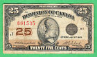 1923 Dominion of Canada - 25 Cents Bank Note - Campbell Clark - Fine - 661535