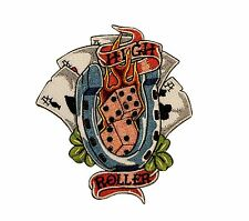 High Roller Poker Hand 4 Aces Dice Embroidered Iron On Patch Applique