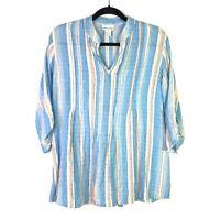 Soft Surroundings Womens Top Sz S Striped Roll Tab Sleeve Top Aqua White