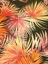 "Fiery Flamingo Jungle Fern Jersey Lycra Stretch Dance Fabric 60"" Width Red/Pink"