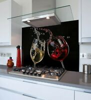 Toughened & Heat Resistant Printed Kitchen Glass Splashback - Two Wine Splash