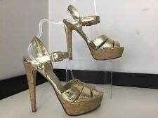 07385b6638 Miss Kg Kurt Geiger Shoes Gold High Cork Heels Size Eu 38 Uk 5 VGC
