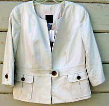 J. Crew Summer Linen Button Tab Jacket Stone 3/4 Sleeve Wms 4 $138 NEW