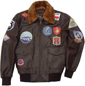 Top Gun Tom Cruise Flight Aviator Bomber Cowhide Men's Real Leather Jacket