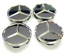 SET OF 4 MERCEDES-BENZ 60MM GLOSSY BLACK WHEEL BADGE CENTER CAPS For Mercedes