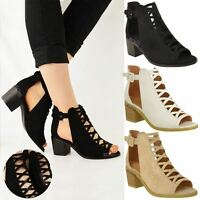 WOMENS LADIES LOW WEDGE HEEL SANDALS LACE UP CUT OUT SHOES ANKLE STRAP SIZE