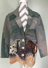 PAINTED PONY Animal Horse Equestrian Print Tapestry Rodeo Western Jacket Coat M