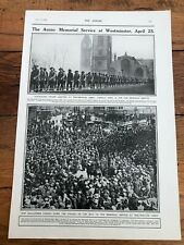 More details for original 1916 printed illustration - anzac memorial service at westminster