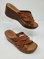 BORN Shoes 7 M Womens Brown Leather Strappy Slip On Wedge Heels Sandals