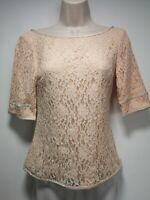 LK Bennett Peach 3/4 Length Sleeve Lace Top - Size 6 (371)