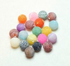 20 NATURAL CRACKLE AGATE BEADS -  DYED MIXED COLOURS 10mm ROUND (BBA157)