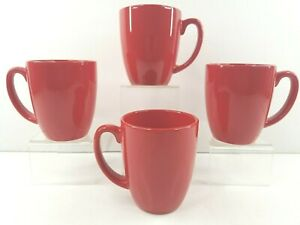 "4 Corelle Stoneware Red Coffee Mugs Set 3 7/8"" Corning Coordinates Tea Cups Mug"