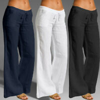 Plus Size Women High Waist Cotton Wide Leg Casual Loose Flared Pants OL Trousers