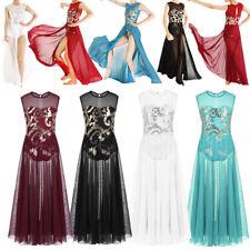 Girls Praise Dance Dress Floral Sequins Dance Wear Lyrical Ballet Modern Dresses