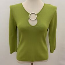 Cable & Gauge Womens Knit Top Medium Green 3/4 Sleeves Keyhole Neck
