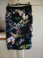 Coast 14 Scuba Floral Lily Skirt Black Pencil Wiggle Party Glamour