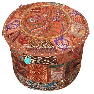 Ethnic Round Footstool Pouffe Cover Brown Patchwork Cotton 22 Inch Embroidered
