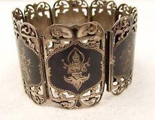 Vtg Sterling Silver Siam Thai Link Bracelet Heavy Niello Ware Dancers Buddha