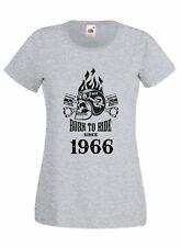 T-shirt Maglietta donna J2236 Motor Skull Born To Ride Since 1966 Compleanno