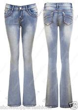 Mujer Ajustado Vaqueros de campana Mezclilla Jeans Corte Bota Talla 6 8 10 12 14