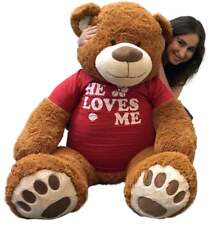 5 Ft Giant Teddy Bear 60 Inch Soft Cinnamon Brown Color Wears HE LOVES ME Tshirt