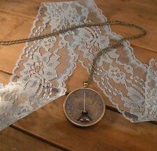 Sundial pocket watch pocketwatch necklace, antique brass, pendant charm & chain