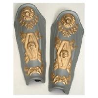 Silver Foam ROMAN LEG GUARDS medieval trojan knight greek gladiator costume prop