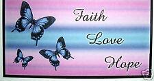 CHECKBOOK COVER BLUE BUTTERFLIES & PINK & BLUE FAITH, LOVE , HOPE
