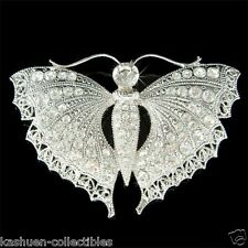 BUTTERFLY Moth~ made with Swarovski Crystal Lepidoptera Insect Sash Pin Brooch