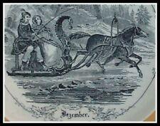 BLACK Rimmed Plate 'DECEMBER' 1868 TRANSFERWARE TOILE Karlsbad BOHEMIA Lustre