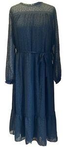FATFACE Monica Spot Mesh Dress Size 16 Black Long Sleeves BNWT