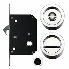Sliding Door Privacy Lock Set - Polished Chrome (40mm - 44mm Thick Doors)