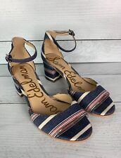 Sam Edelman Women's 9 Red Denim Blue Striped Susie Block Fall Heel Sandals $120
